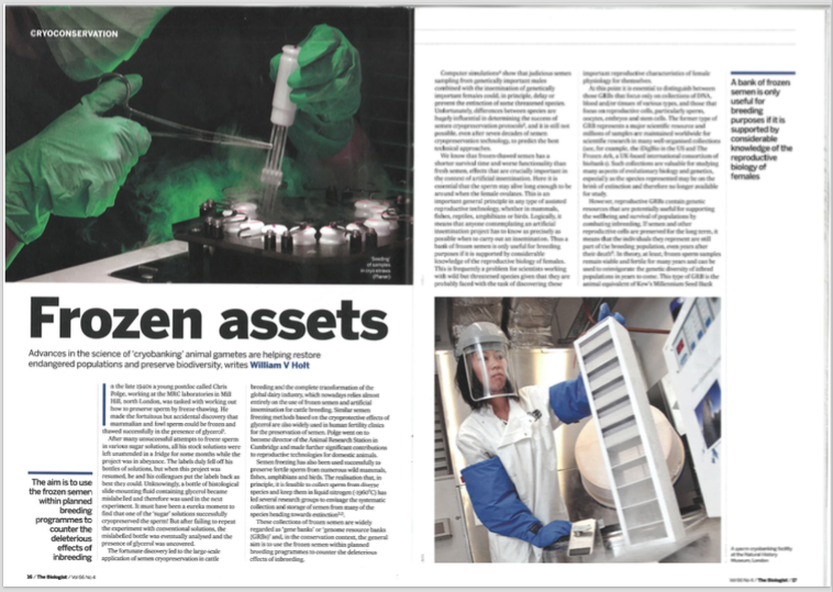The Biologist Article - Frozen Assets. Advances in the science of cryobanking animal gametes