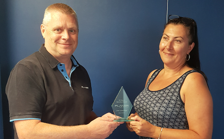 Lisa Loveridge receives 10 year service award